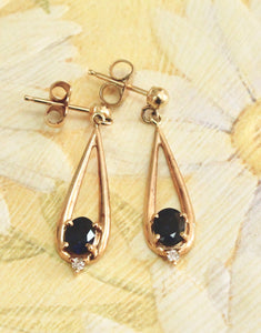 Dainty ~ Sapphire drop earrings with diamond accents