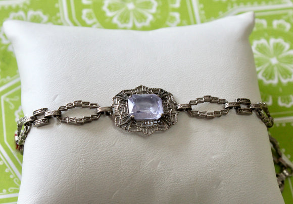 Vintage ~ Sterling Bracelet with purple center stone