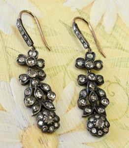 Antique Georgian  ~ Rose Cut Diamond Drop Earrings