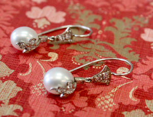 Vintage English Pearl and Diamond Drop Earrings