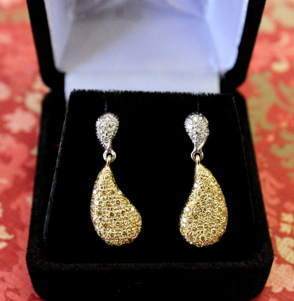 SPARKLING ~ Yellow & White Diamond Drop Earrings