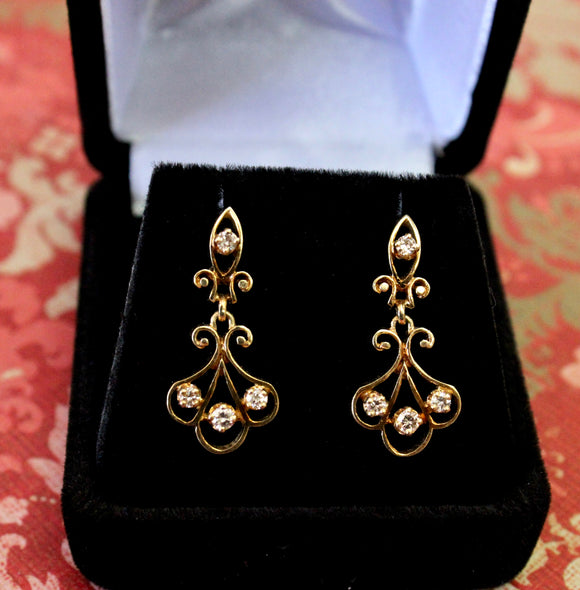 Decorative & Vintage  ~ Diamond Drop Earrings,