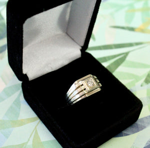 Striking ~ Art Deco Men's Center Diamond Ring