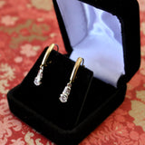 Sleek & Elegant ~ Diamond Drop Earrings with Baguette and Bezel Set Diamonds