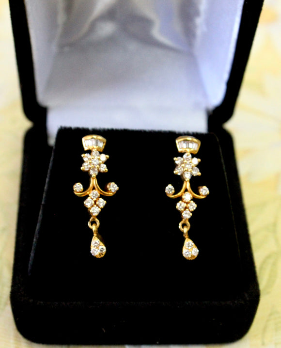 Sophisticated ~  Diamond Earrings with Baguette & Round Diamonds