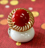 Colorful & Bold ~ Red Coral and 18k Yellow Gold Ring
