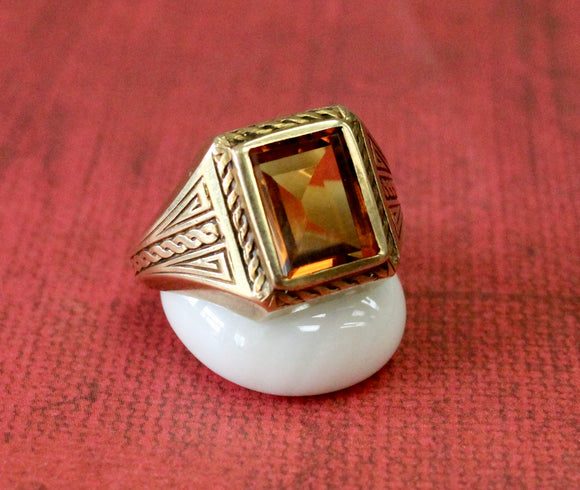 Sharp Looking ~ Men's Citrine Stone Ring