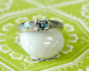 Sparkling ~ Aquamarine Ring with Opal accents