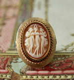 Vintage ~ Carved Shell Cameo Ring, The Three Graces
