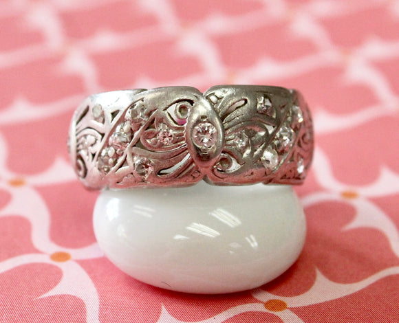 Vintage ~ Platinum Diamond Eternity Wedding Band