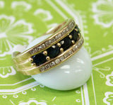 Lovely ~  Oval Sapphire band with Diamonds