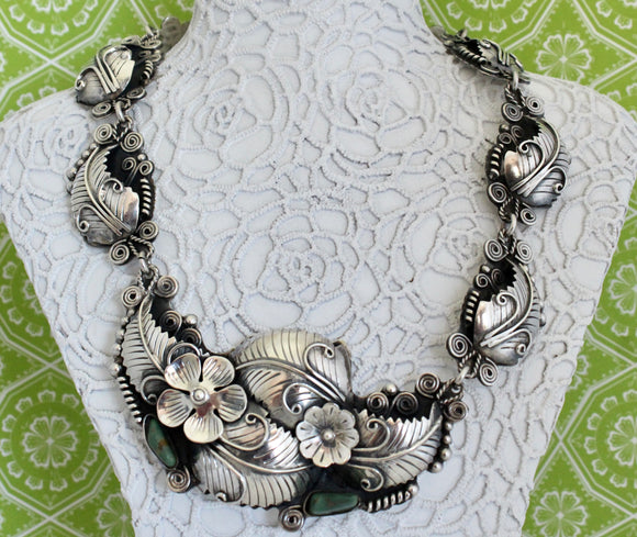 Dramatic & Fun ~ Sterling Silver with Turquoise accents Necklace