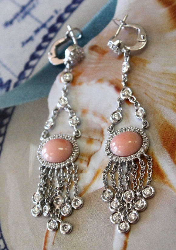 GORGEOUS  ~ Angel Skin Coral & Diamond Drop Earrings