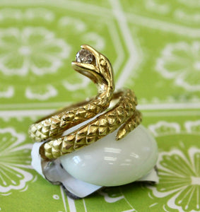 Unique ~ Snake Ring with Diamond accents