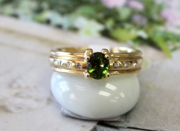 Whimsical ~ Green Tourmaline & Diamond Ring