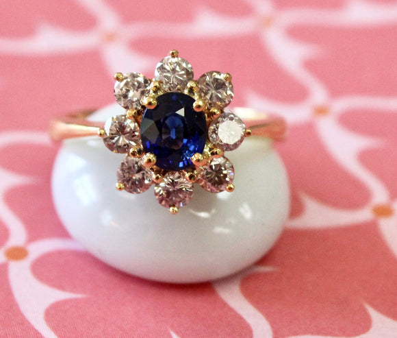 Sparkling ~ Oval Center Sapphire & Diamond Ring