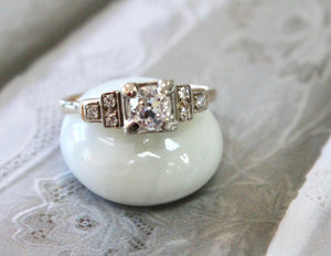 Vintage ~ Two tone Diamond Engagement Ring