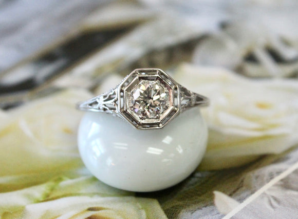 Antique ~ Diamond Engagement Ring with filigree design