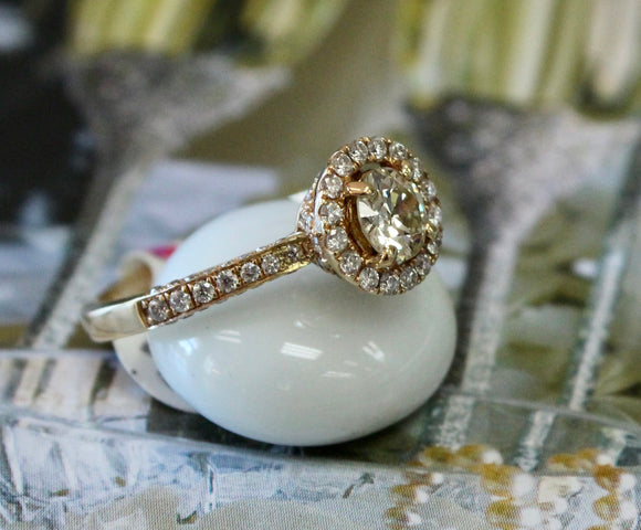 Shimmering ~ Center Diamond Stone embellished with surrounding diamonds