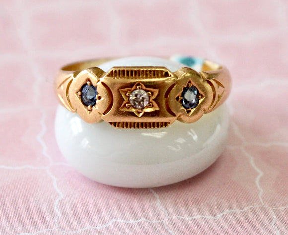 Precious ~ Antique Sapphire & Diamond Ring