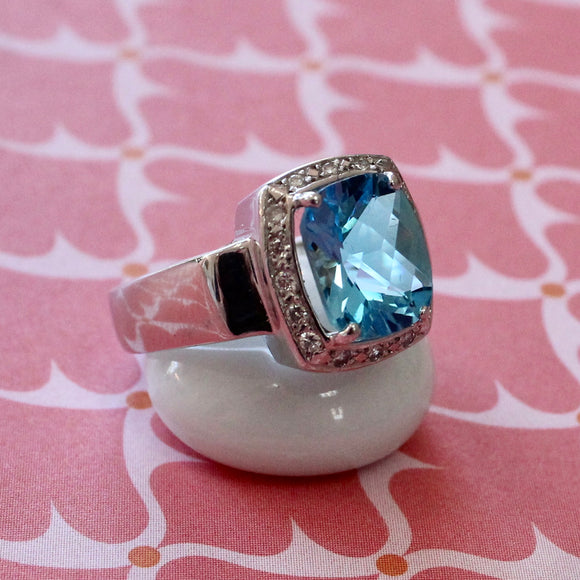 Blue Topaz and Diamond Ring ~ WOW