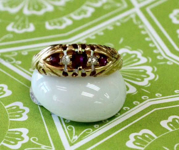 Endearing ~ Antique Ruby & Diamond Ring