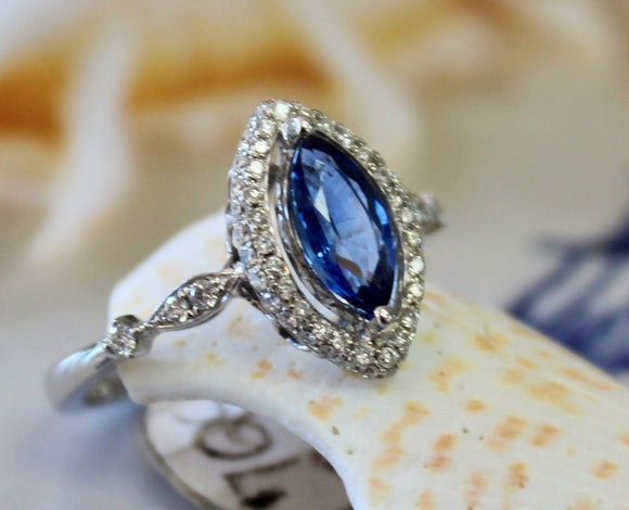 Marvelous ~ Marquise Shaped 1 Carat Sapphire Ring