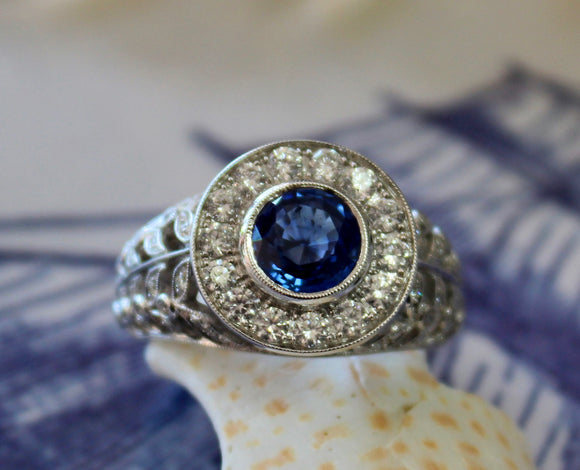 WOW ~ 1.50 Carat Round Blue Sapphire Ring Surrounded by Diamonds