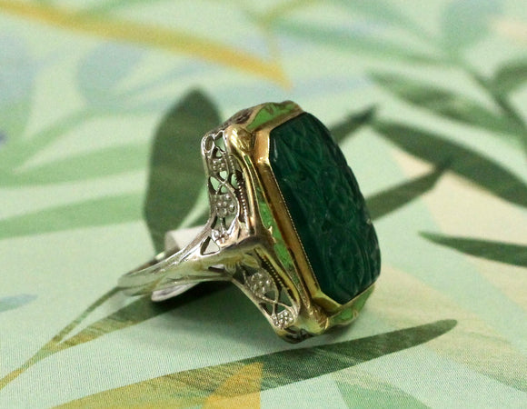 Interesting & Fun ~ Carved Chrysoprase & Enamel Ring