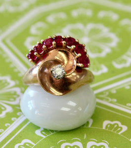 Jazzy ~ Vintage Rosegold Ruby & Diamond Ring