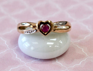 Ruby Ring with Diamond Accents, heart shaped center
