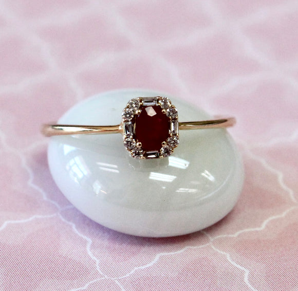 Sweet & Petite ~ Ruby Center Ring with Diamond accents