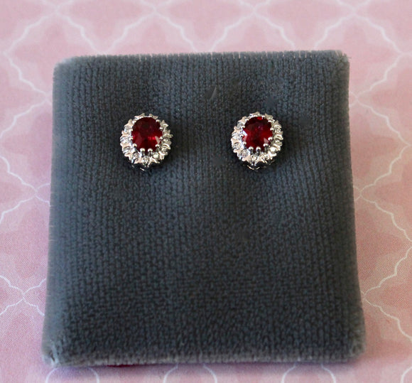 Sweet ~ Ruby & Diamond Stud Earrings