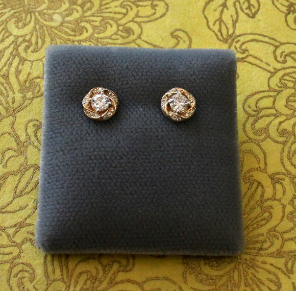 Diamond Center Stud Earrings with decorative edging