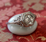 Diamond Engagement Ring with filigree mounting