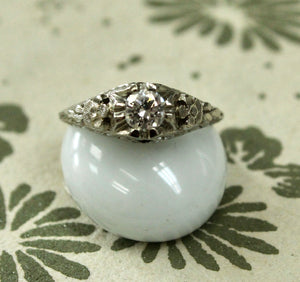 Vintage Diamond Ring with Floral Design