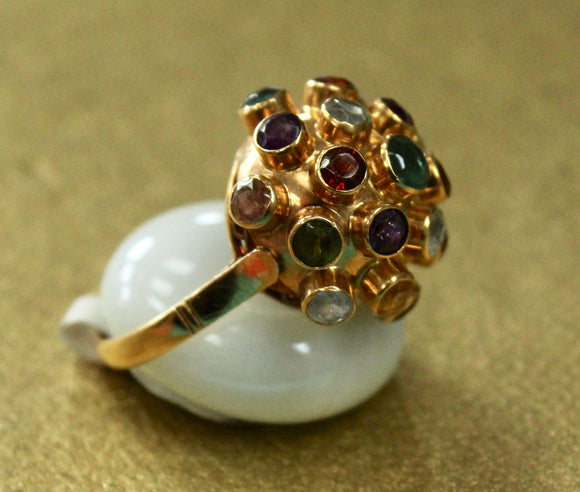 FUN ~ Domed Shaped Ring accented with colorful stones