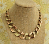 SPLENDID ~ Retro Necklace in Green & Rose Gold