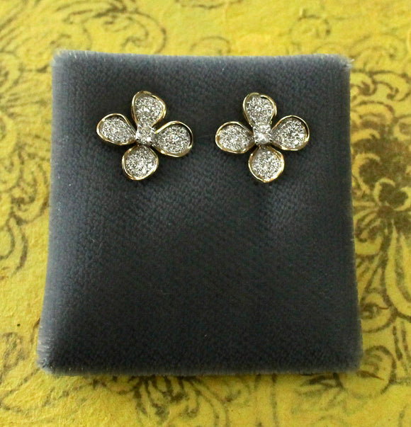 Sparkling & Lovable ~ Pair of Diamond Stud Earrings in a floral motif