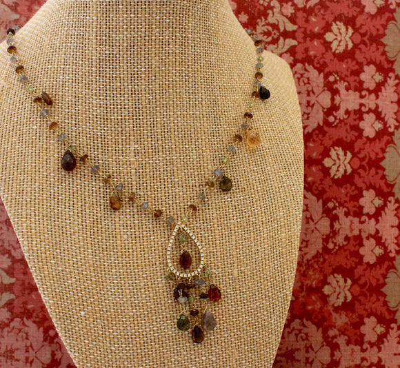 Semi-Precious Gem and Diamond Designer Necklace