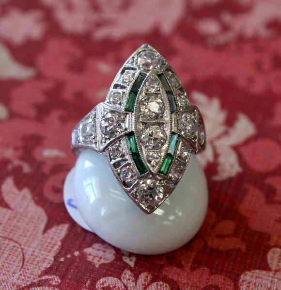 Vintage Platinum Diamond & Emerald Accent Ring ~ WOW