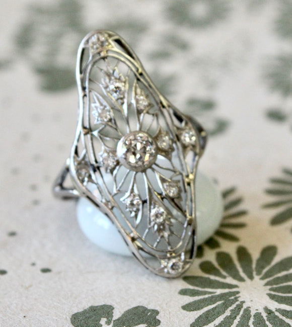 Antique Open-Work Diamond Ring~ WOW