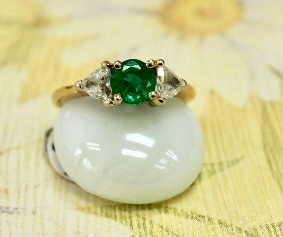 ADORABLE ~ Emerald and Diamond Ring