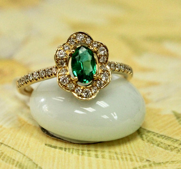 Delicate yet Bold ~ Oval Emerald & Diamond Ring