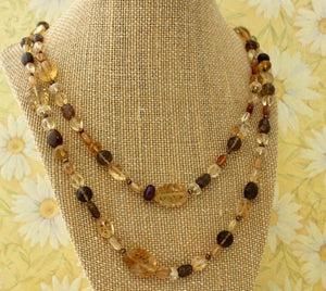 Colorful & Lightweight ~ Citrine Necklace with carved beads