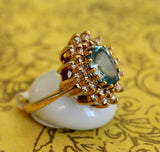 Sparkling ~ Blue Zircon & Diamond Ring