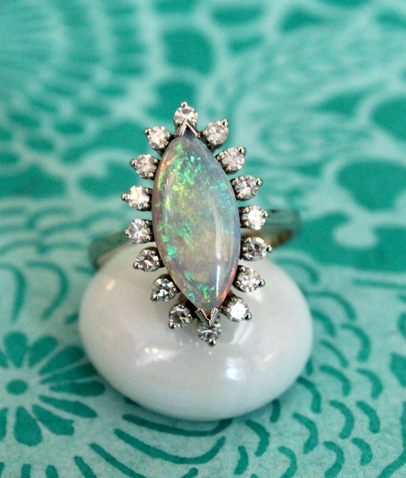 Gleaming ~ Opal & Diamond Ring