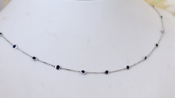 Flirty ~ Sapphire Necklace with adjustable lengths, white gold