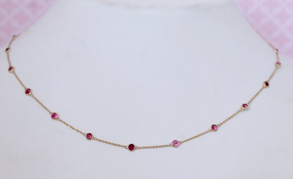 Pretty & Playful ~ Pink Tourmaline Necklace with adjustable lengths