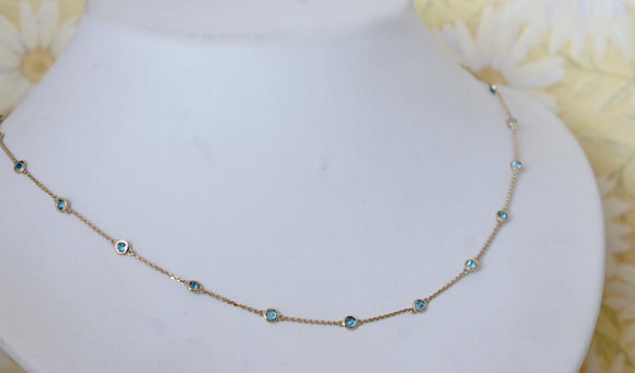 Sparkly & Fun ~ Blue Topaz Necklace in yellow gold, adjustable length